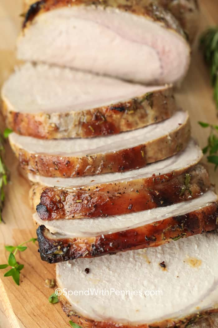 Balsamic Pork Loin on a wooden board