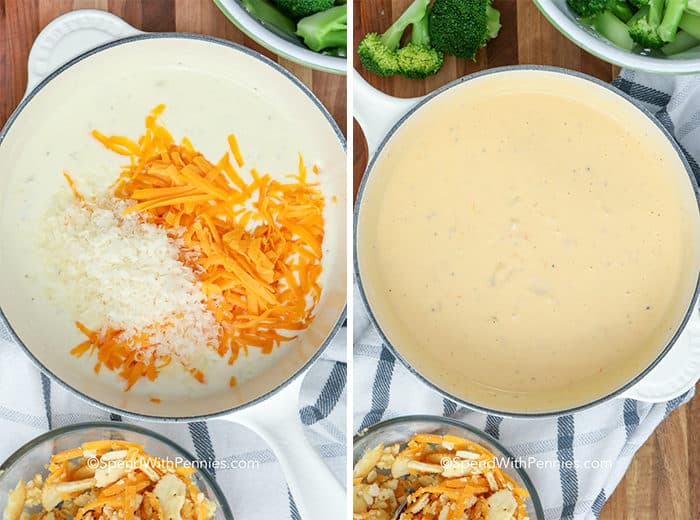 Overhead shot of Cheesy Broccoli Casserole sauce in pots before and after stirring together