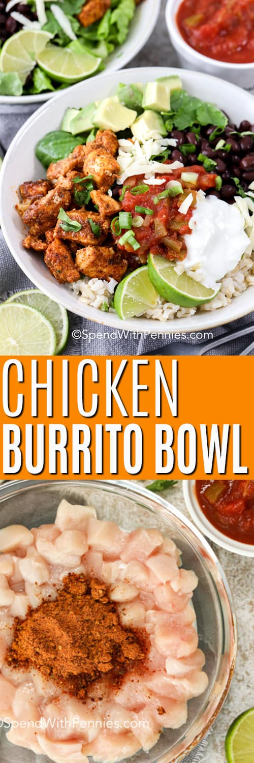 Top photo - Assembled chicken burrito bowl topped with salsa, sour cream and lime wedges. Bottom photo - Overview of chicken burrito bowl ingredients.