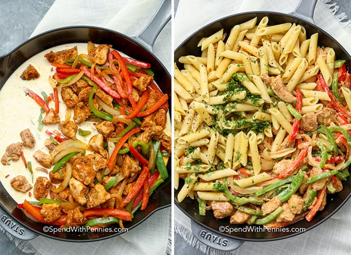 Two images, left image shows chicken fajita mixture with sauce and right image shows creamy chicken fajita mixture with pasta.