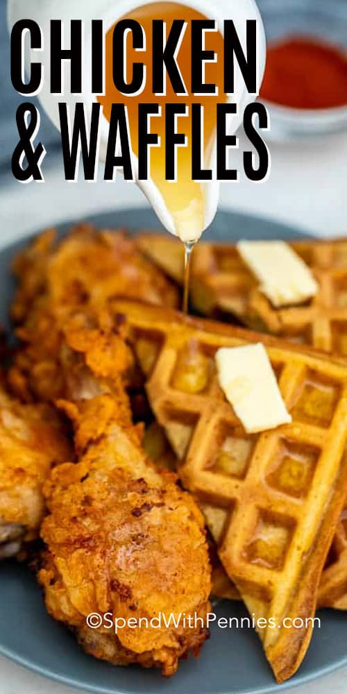 Pouring syrup over Chicken and Waffles with a title