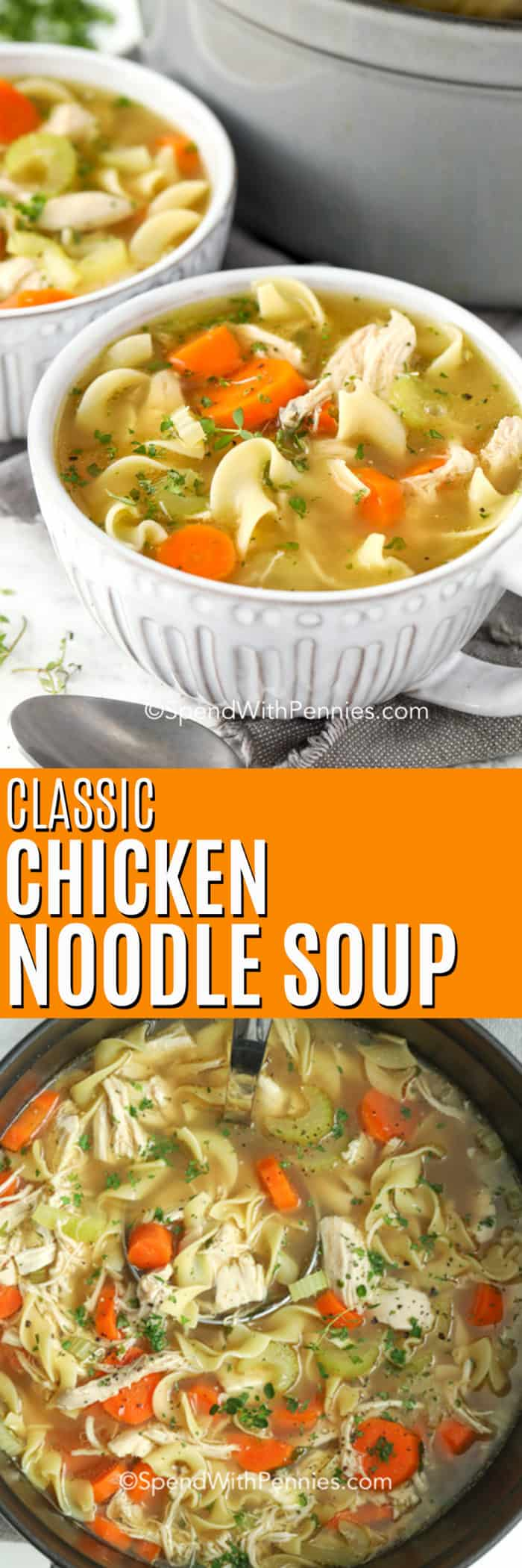 Chicken noodle soup in a pot with a ladle and in bowls with writing