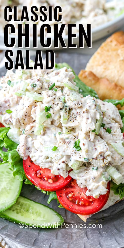 Classic Chicken Salad sandwich with a title