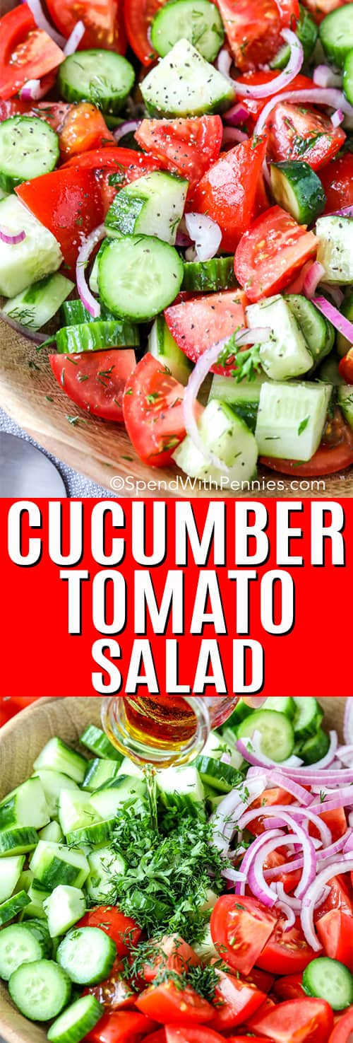 Cucumber Tomato Salad with a title