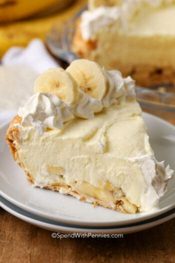 a slice of banana cream pie on a plate