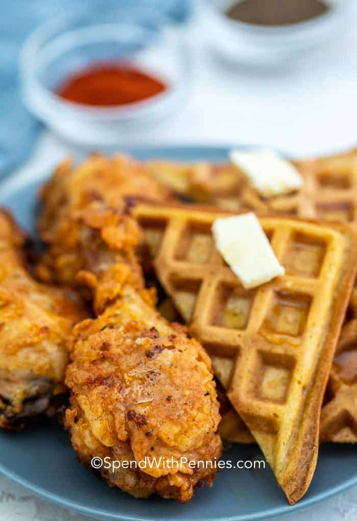 Fried Chicken and Waffles on a blue plate