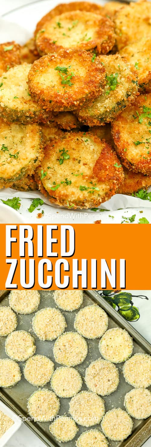 Top image - fried zucchini chips stacked on a plate. Bottom image - sliced zucchini breaded on a baking pan.