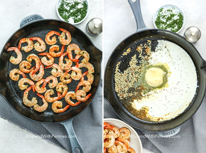 Overhead shot of shrimp cooking in one pan, other pan has butter, cream and spices in it