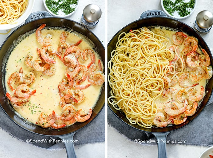 A pan of shrimp in cream sauce and another pan with pasta added to the shrimp