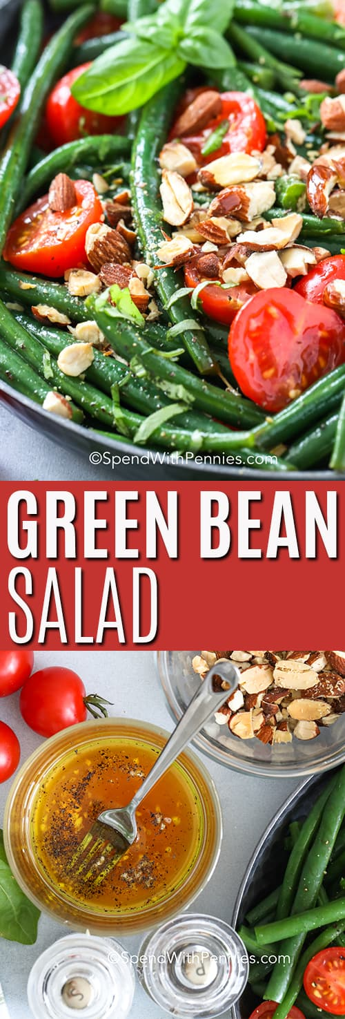 Top photo - A serving bowl of green bean salad with tomatoes and toasted almonds. Bottom photo - ingredients assembled to make green bean salad.