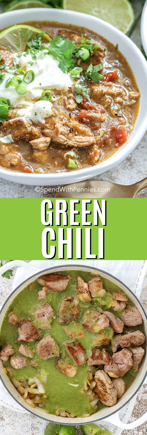 Top image - a bowl of green chili. Bottom image - green chili and pork in a pot.