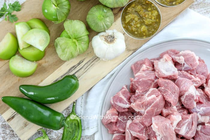 Overhead shot of Green Chili recipe ingredients
