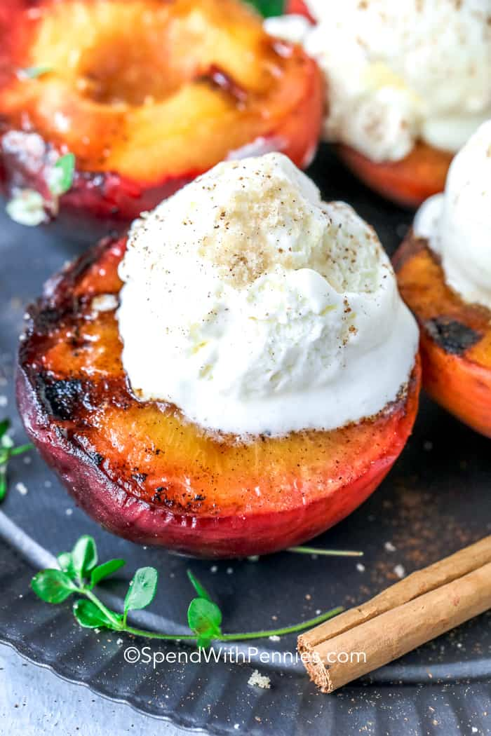 Grilled Peach with a vanilla ice cream on top