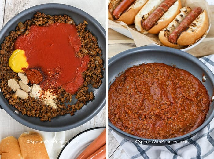 Two images showing the chili dog sauce before and after being mixed together in the saucepan.