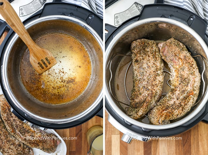 Instant pot with pork and brown bits