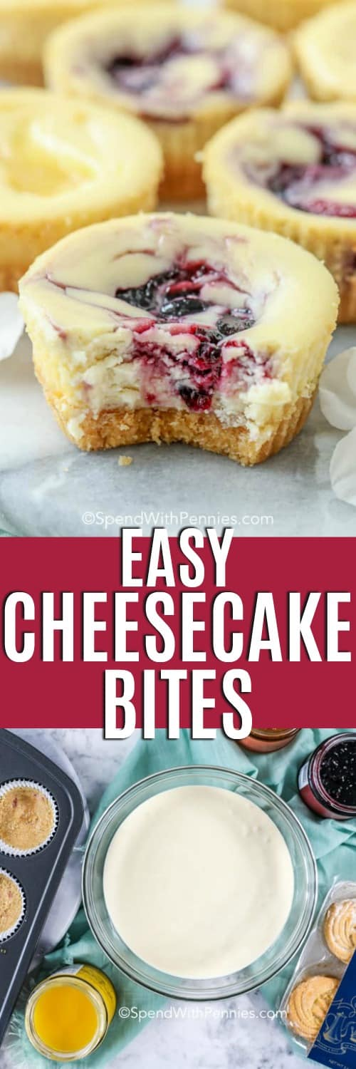 Top photo-A cheesecake bite with a bite missing. Bottom photo-ingredients assembled to make Cheesecake Bites.