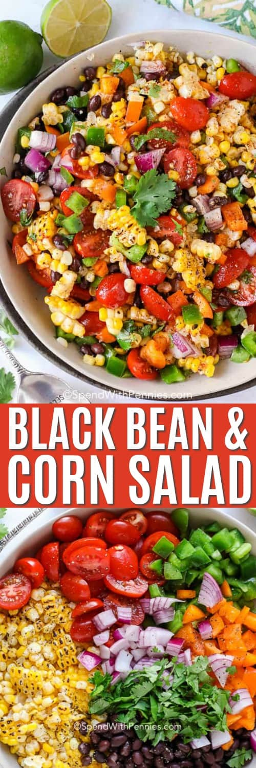 Black bean corn salad with a title