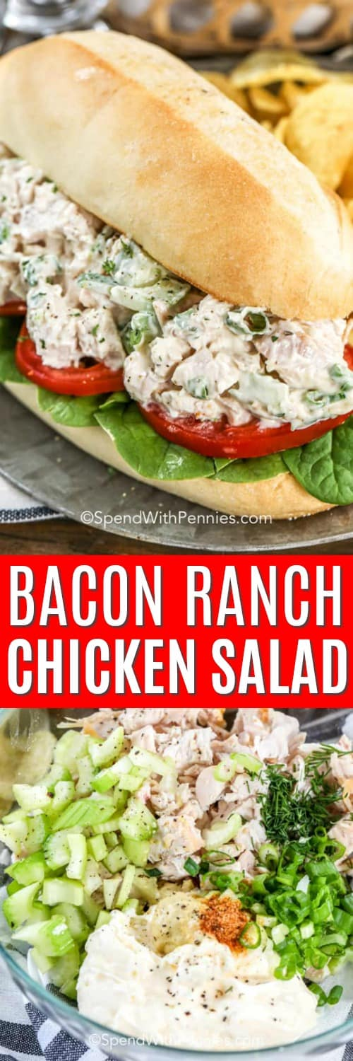 Bacon Ranch Chicken Salad with a title