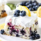 Lemon Blueberry Cake on a white plate