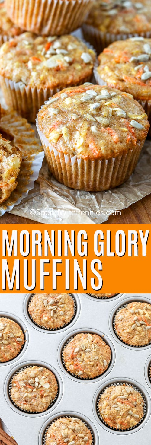 Top photo - A Morning Glory Muffin served on a wooden board. Bottom photo - Morning Glory Muffins baked in a muffin tin.