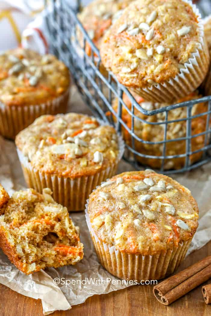 A stack of morning glory muffins baked and ready to be served
