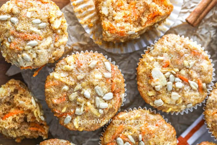 Morning glory muffins topped with sunflower seeds
