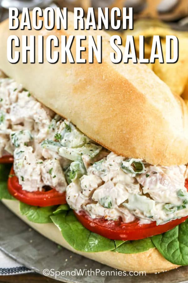 Bacon Ranch Chicken Salad on a hoagie roll with a title