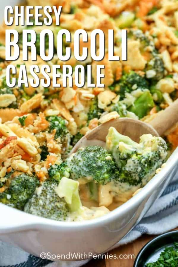 Spooning out a serving of Cheesy Broccoli Casserole with a title