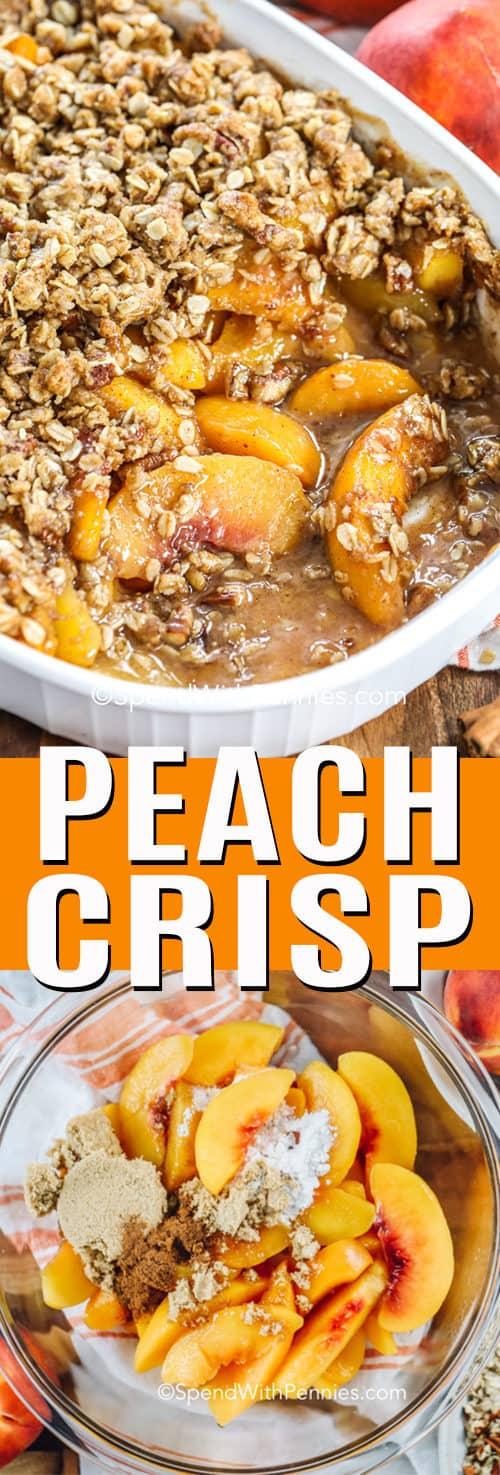Peach Crisp with a title