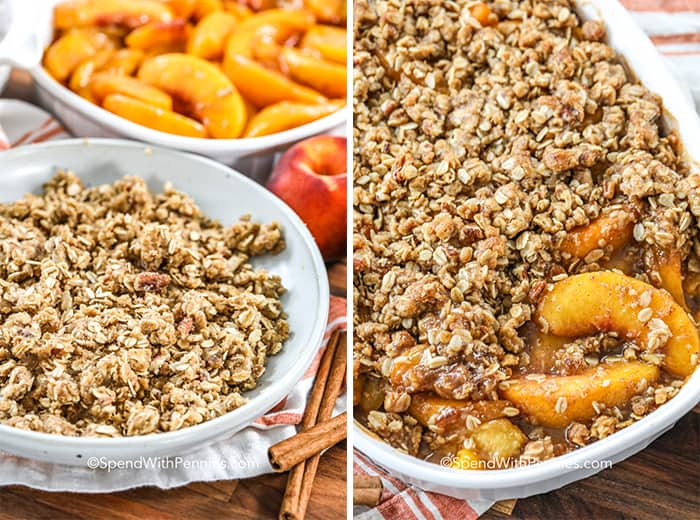Bowls of oatmeal and peach slices, and Peach Crisp in a baking dish