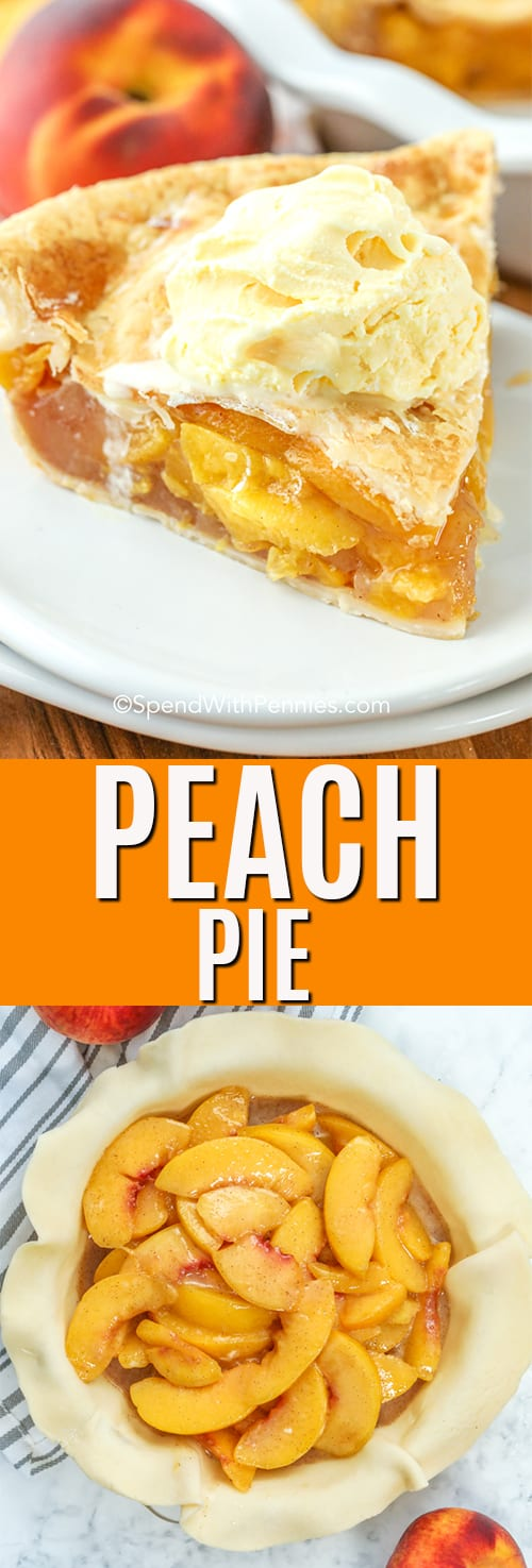 Homemade Peach Pie with a title