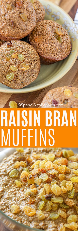 Top image - Raisin bran muffins in a bowl. Bottom image - close up of raisin bran batter.