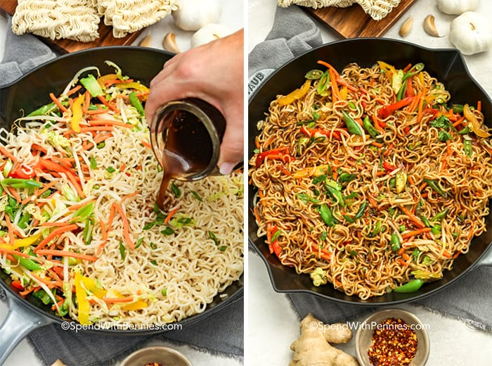 Ramen noodle stir fry in a pan with and without sauce