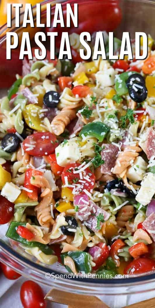Italian pasta salad is one of my favorite cold pasta salad dishes!  Fresh and colorful vegetables, cheese, salami, and Italian vinaigrette are tossed with your favorite pasta to create an unforgettable dish for just about any summer occasion. #spendwithpennies #summersalad #pastasalad #easysidedish #easyrecipe #pastarecipe #healthyrecipe #freshsidedish