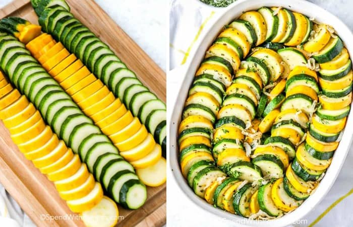 Slices of summer squash and zucchini on a cutting board and layered in a casserole dish