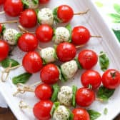 Overhead shot of Caprese Skewers on a serving plate