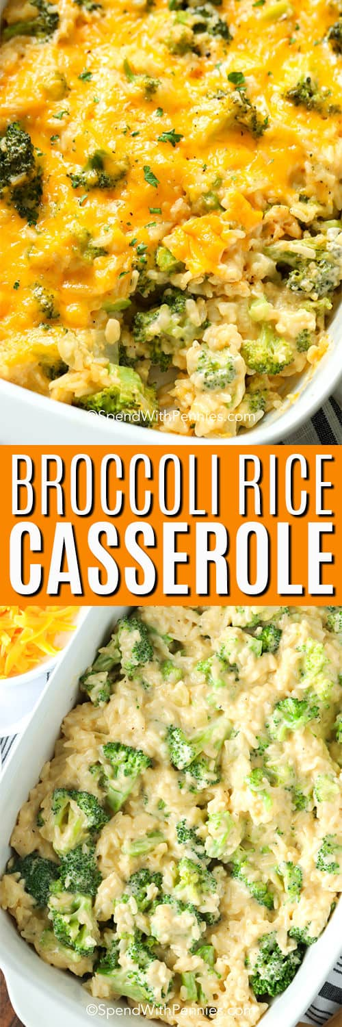 Top image - close up of broccoli rice casserole. Bottom image - broccoli rice casserole before being baked.