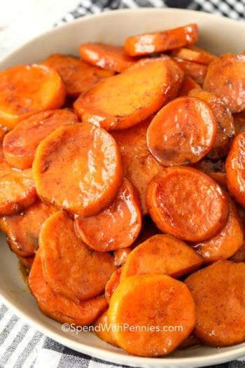 Candied yams in a bowl