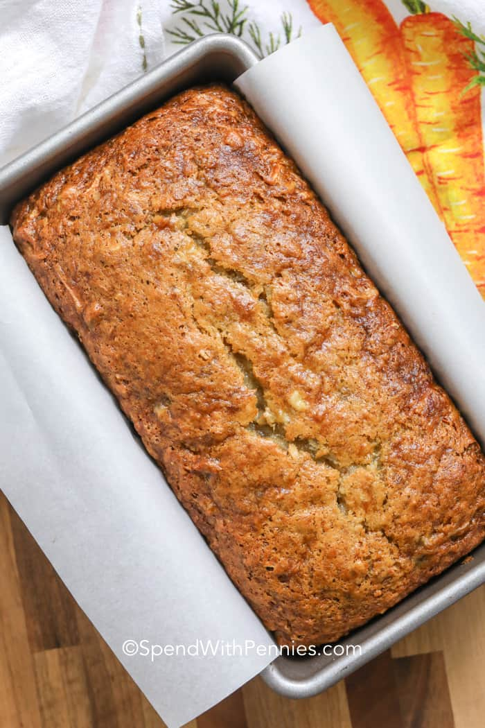 Carrot banana bread in a loaf pan
