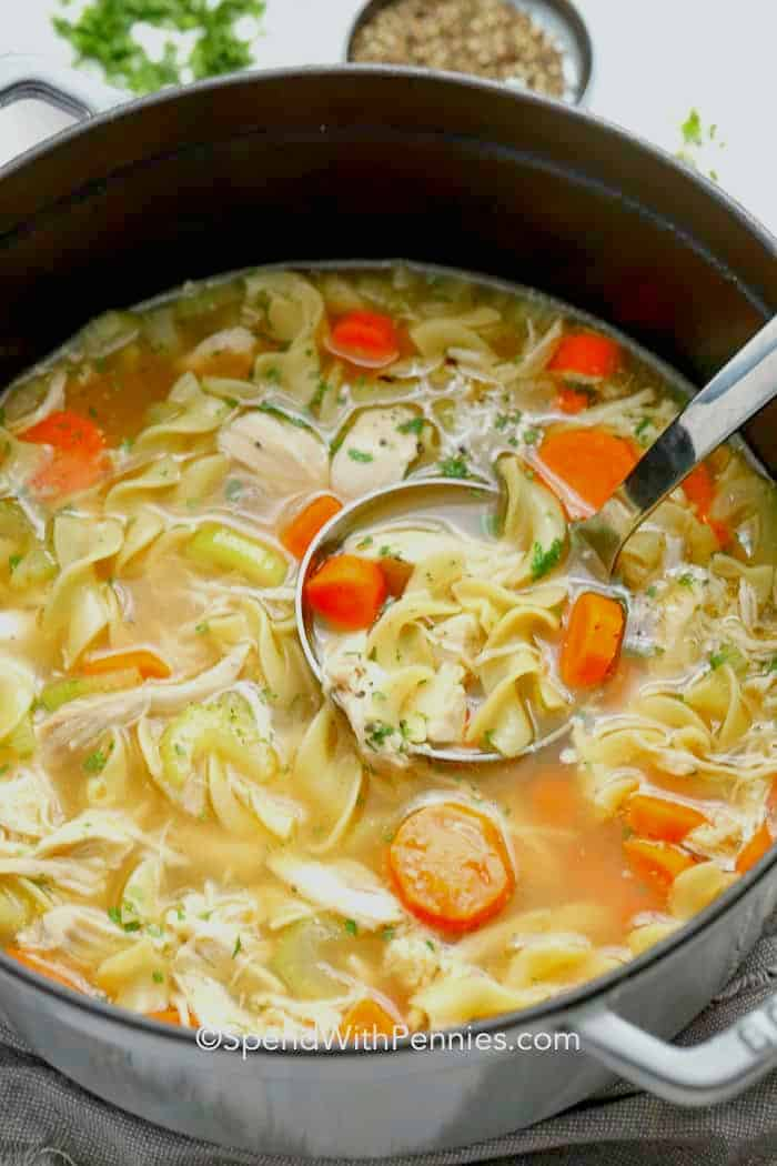Chicken noodle soup in a pot with a ladle
