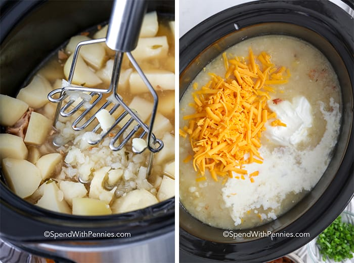 Potatoes being mashed and cheese and sour cream being added to CrockPot potato soup.