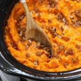 Crock Pot Sweet Potato Casserole in a slow cooker