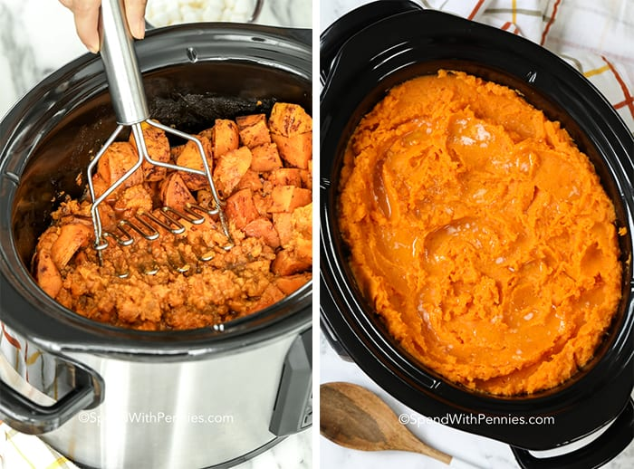 Two images showing the sweet potatoes before and after being mashed in the crockpot.