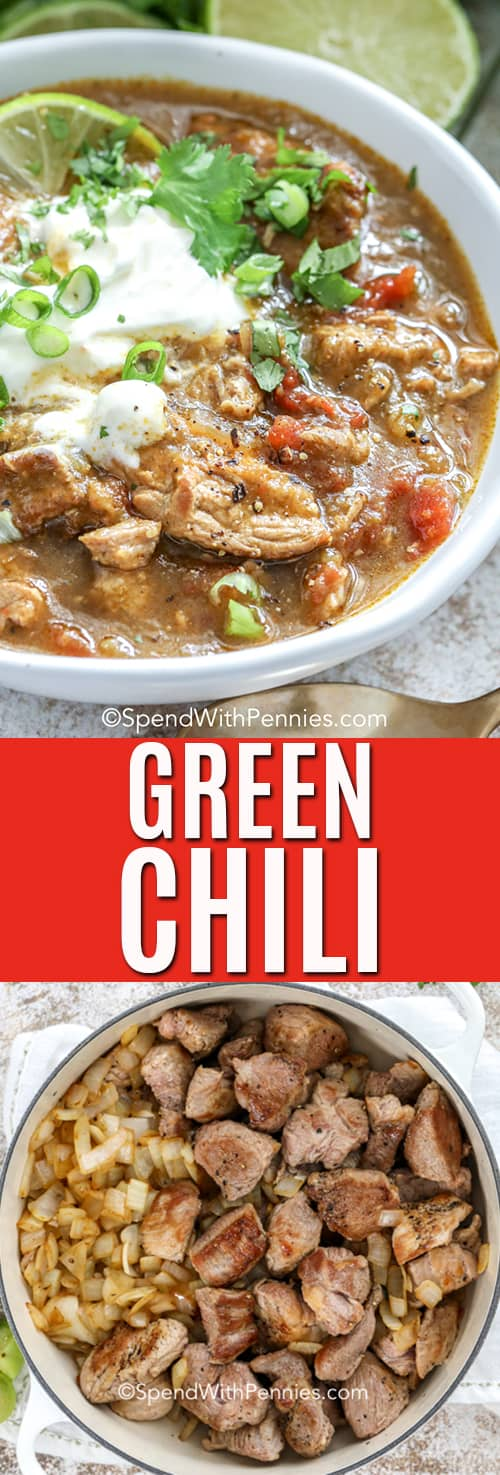 Green chili in a bowl and in a pot with a title