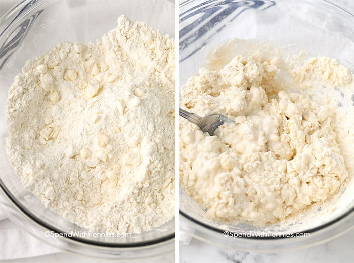 Left picture shows dry ingredients mixed, right picture shows wet ingredients added.