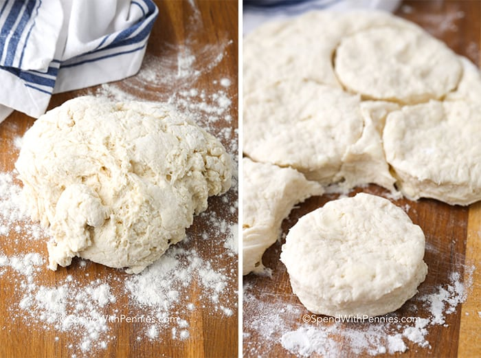 Left picture shows biscuit dough formed into a ball, right picture shows a biscuit cut out of the formed dough.