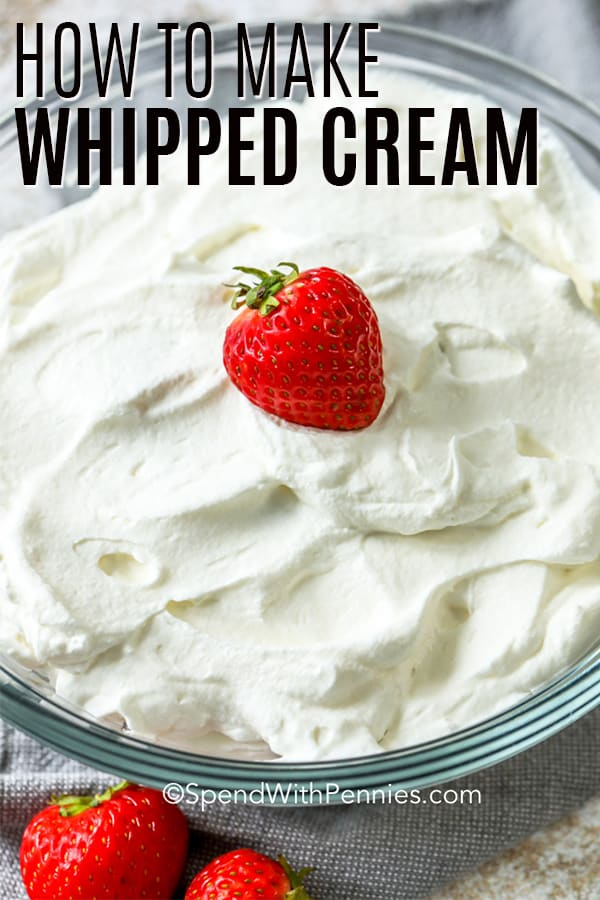 Whipped cream in a glass bowl with a strawberry on top and a title