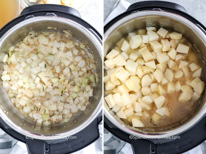 Left image shows cooked potatoes in an instant pot with broth and right image shows raw potatoes in an instant pot with broth