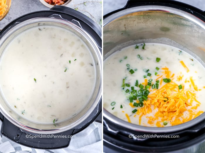 Left image shows potato and cream in an instant pot and right image shows potato and cream with green onions and cheddar cheese for instant pot potato soup