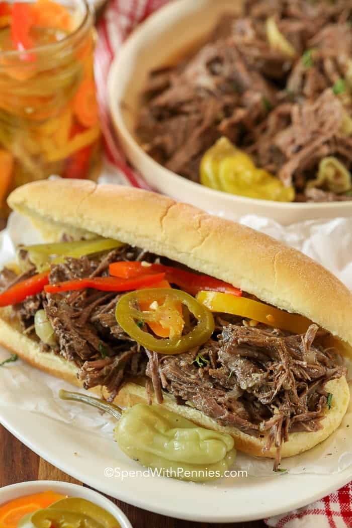 Italian beef sandwiches with peppers
